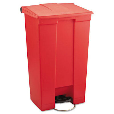 Indoor Utility Step-On Waste Container, Rectangular, Plastic, 23gal, Red
