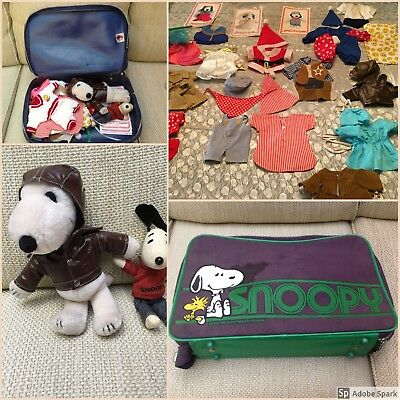 Vintage Snoopy Plush 33 Piece Wardrobe Set Clothes Outfit Belle Suitcase Peanuts