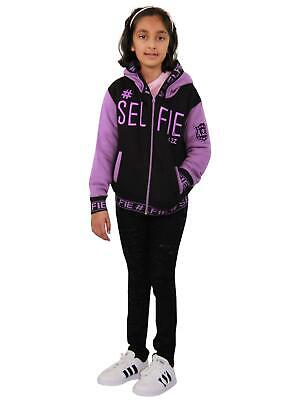 Kids Girls Jackets #Selfie Embroidered Lilac Zipped Top Hooded Hoodie 5-13 Years