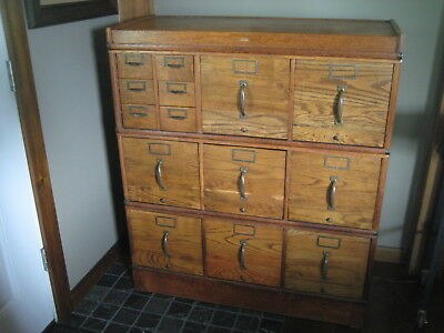 Antique Globe Barrister Type Stacking Card Catalog / Filing Cabinet