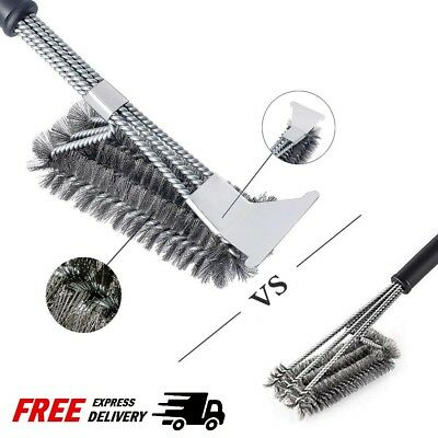 "18"" BBQ Grill Brush Cleaner Steel Bristle Barbecue Cleaning Tool With Scraper"