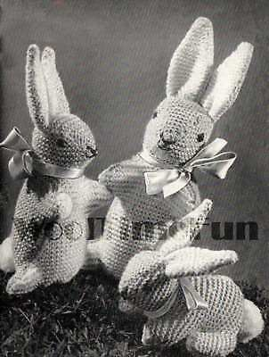 Vintage Toy Knitting Pattern. Bunny Rabbit Family. 1940s. Make with oddments.
