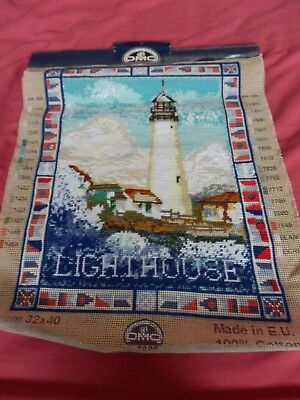 "DMC Part completed tapestry - Lighthouse -12.5"" x 15.5"" - Canvas Only"