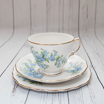 Pretty Vintage Royal Vale China 'Forget Me Not' Trio, Very good Condition