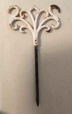 Vintage cast iron garden stake - white chippy paint - architectural salvage