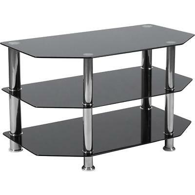 Black Glass Tv Stand Chrome Legs 3 Tier Storage Shelves For 60 Inch