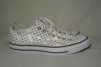 Converse All Star White & Gold Dot Sneakers Women Size 11 / Mens Size 10 / Uk 9