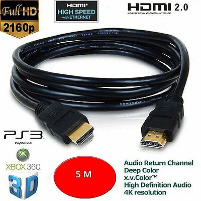 5m  HDMI Male to HDMI Male PC/LAPTOP/SKY/XBOX 360/HDTV Gold Plated Ver1.4 Cable#