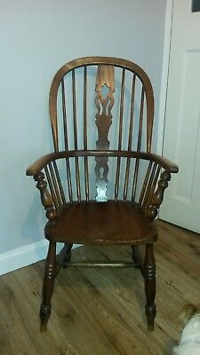 Beautiful Antique High Back Windsor Wood Fireside Bentwood Chair