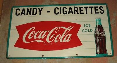 Rare Large Old Vintage Coke Coca Cola Metal Store Sign Candy Cigarettes 54""