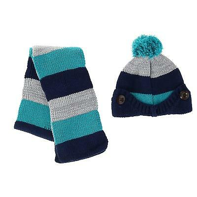 New Foemo Kids' Knitted Scarf and Beanie with Pom Winter Set