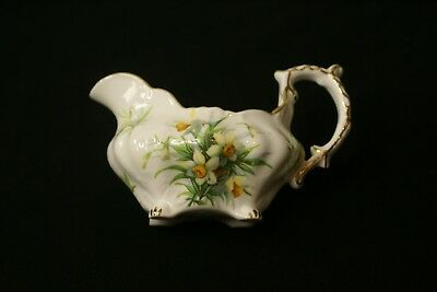 Vintage Hammersley Bone China Daffodil Pattern Gold Trim Creamer, England