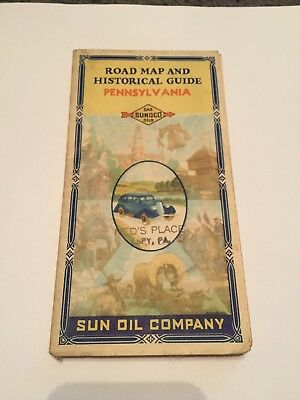 Sunoco Gas Oils Sun Co Pennsylvania Road Map Historical Guide Ned's Place Espy