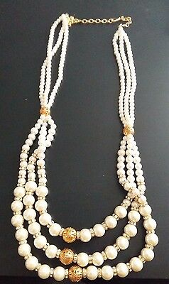 Costume Jewellery Pearl Necklace 3 Line Mala Gold Long Bollywood Style Indian