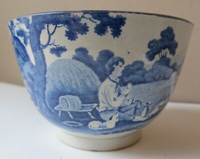 Antique Early 1800s Blue & White TRANSFERWARE CUP Bowl PASTORAL Scene DOG