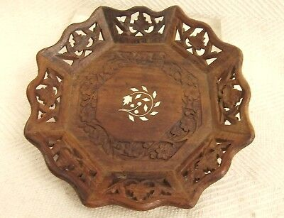 """Pretty Vintage Hand Carved Wooden Bowl With Inlay Indian Rosewood Bowl 9.5"""""""