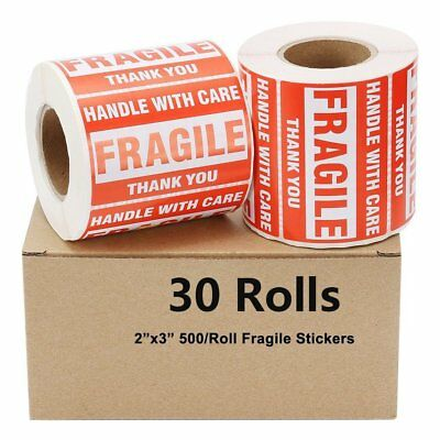 30 Rolls 500/Roll 2x3 Fragile Stickers Handle with Care Warning Shipping Labels