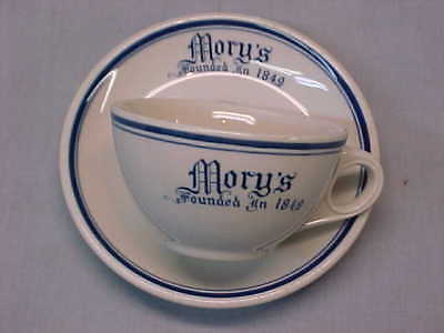 Vintage Mory's Restaurant Ware Blue and White Cup & Saucer Yale New Haven CT