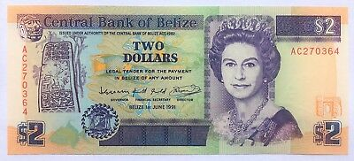 BELIZE - 2 DOLLARS - 1991 - PICK 52b , UNC .