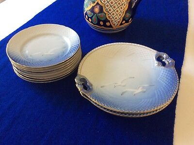 8 B&G Seagull Salad Plates and 2 Platters with Handles Denmark EXCELLENT