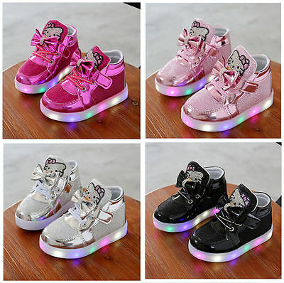 UK Light Up Shoes LED Flashing Trainers Casual Sneakers Kids Boys Girls Shoes