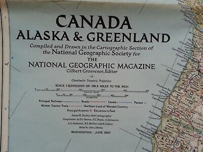 National Geographic Vintage map.  Canada, Alaska and Greenland June 1947