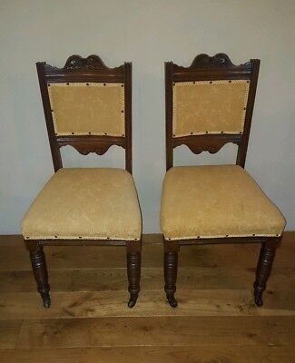 Pair of Edwardian Mahogany Hall Dining Bedroom Chairs