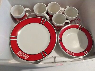 14 Pc Coca Cola 1996 Gibson plate bowl mug set - china red vintage collectible