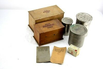 LOT:antique KODAK film Tanks/Boxes, instructions(Brownie, vest pocket),developer