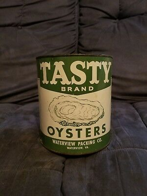 Tasty Brand Gallon Oyster Tin Can Waterview VA