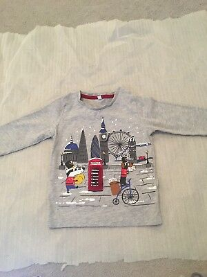 boys long sleeved cotton christmas top age 12-18 months Grey M&S
