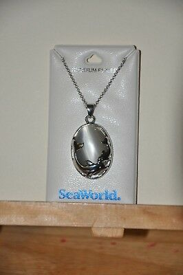 "Sea World Dolphin Necklace with Gray Gem and 18"" Chain"