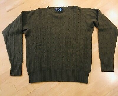 Polo by Ralph Lauren 100% CASHMERE Men's Cable Knit Crew Sweater Pullover Size M