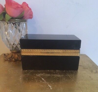 Old French Black Opaline Box Caddy