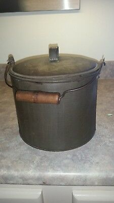 Antique vintage metal tin large Flour Bucket wooden handle 1800's Hand forged
