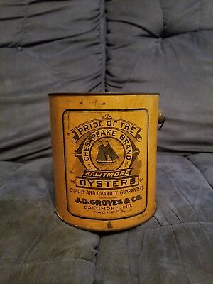 Pride Of The Chespeake Brand Gallon Oyster Tin Can J D Groves Baltimore MD