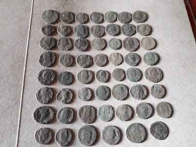 Beautiful Lot Of 55 Ancient Roman Bronze Coins For Cleaned