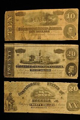 Confederate Group Lot of 3 Notes Item K-25