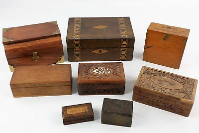 8 x Assorted Vintage WOODEN Trinket / Jewellery Boxes Inc. Carved Designs