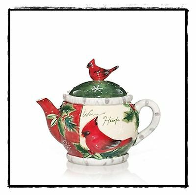 Yankee Holiday Holly Red Bird Teapot Sentiments Votive Candle Holder Brand New
