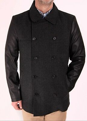 Coat Jacket Wool Look PU Sleeve  Formal New Button Up Quality Collar