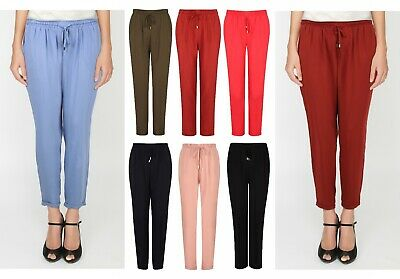 Ladies Harem Trousers Tapered Tie Belt Elastic Waist Summer Stretch Plus Size
