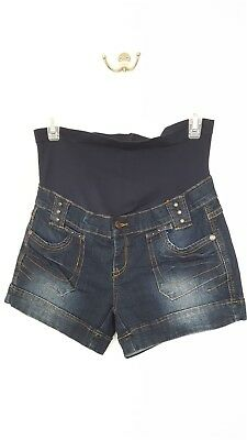 Bella Vida Maternity Shorts Size Small Denim Blue Jean Cuffed Dark denim