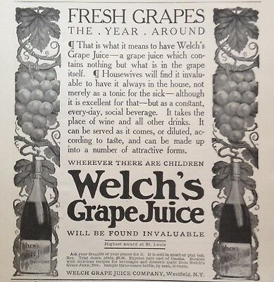 1905 Ad(G16)~Welch's Grape Juice, Westfield, Ny.