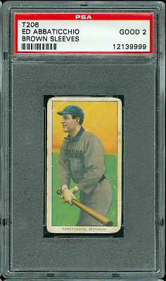 1909-11 T206 Sweet Caporal Ed Abbaticchio Brown Sleeves Psa 2