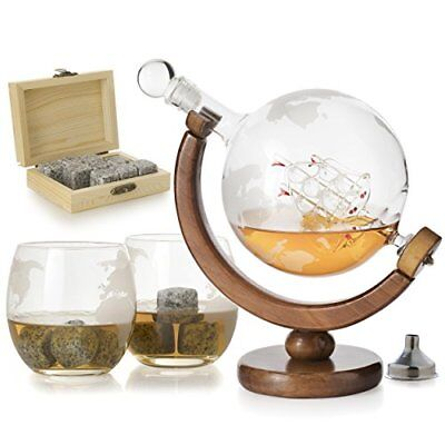 Etched World Globe Decanter For Whiskey or Wine w Antique Ship & Globe Glasses