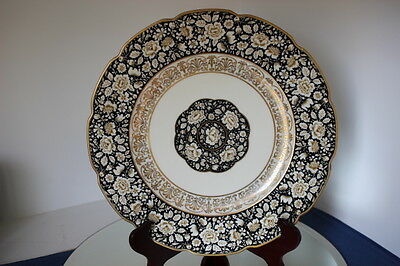 "Vintage Schumann Bavaria Germany 11"" Service Dinner Plate Black And Gold - Mint"