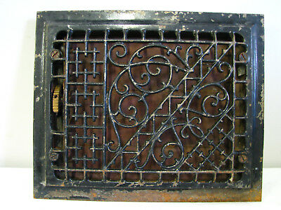 "Antique Black 1886 Cast Iron Floor Wall Grate Vent Register Louvers 12"" Heat VTG"