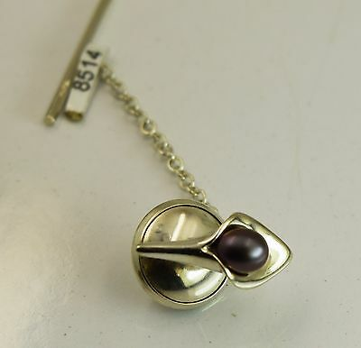 Amanda Cox lily design sterling silver tie pin with black pearl. Was £63