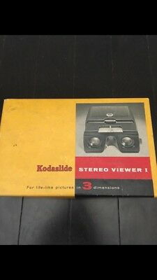 Vintage 50's Kodak Kodaslide Stereo 3D Viewer 1 w/Metal Slide Case & Manual